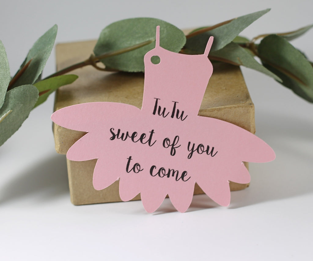Party Thank You Tags in Tutu Shape - Tutu Sweet of You to Come - Light Pink - 20pc-Party Tags-The Paper Medley