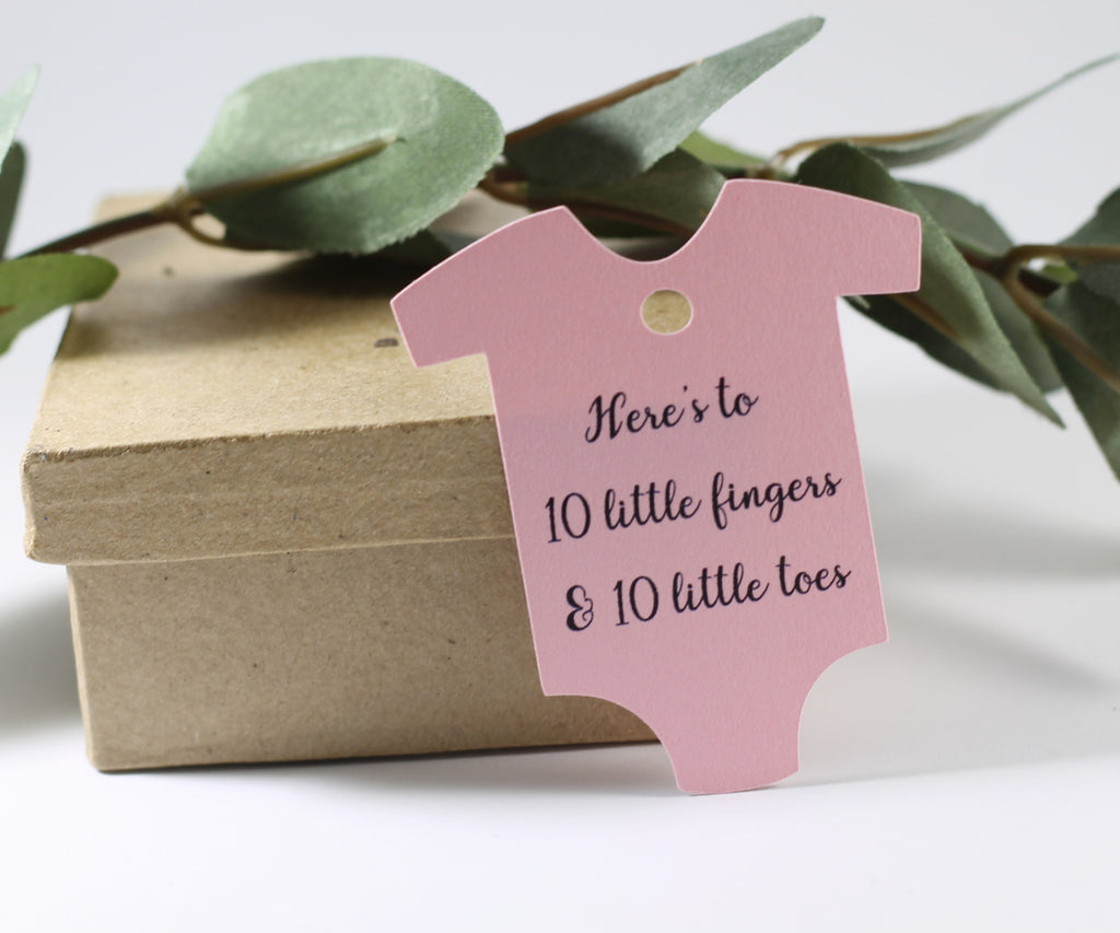 Light Pink One Piece Tags - Here's to 10 Little Fingers and 10 Little Toes Set of 20 - The Paper Medley