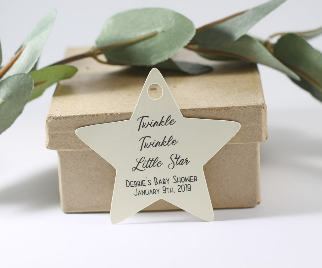 Custom Baby Shower Tags - Star Shape - Twinkle Twinkle Little Star - Cream- 20pc-Baby Shower Tags-The Paper Medley