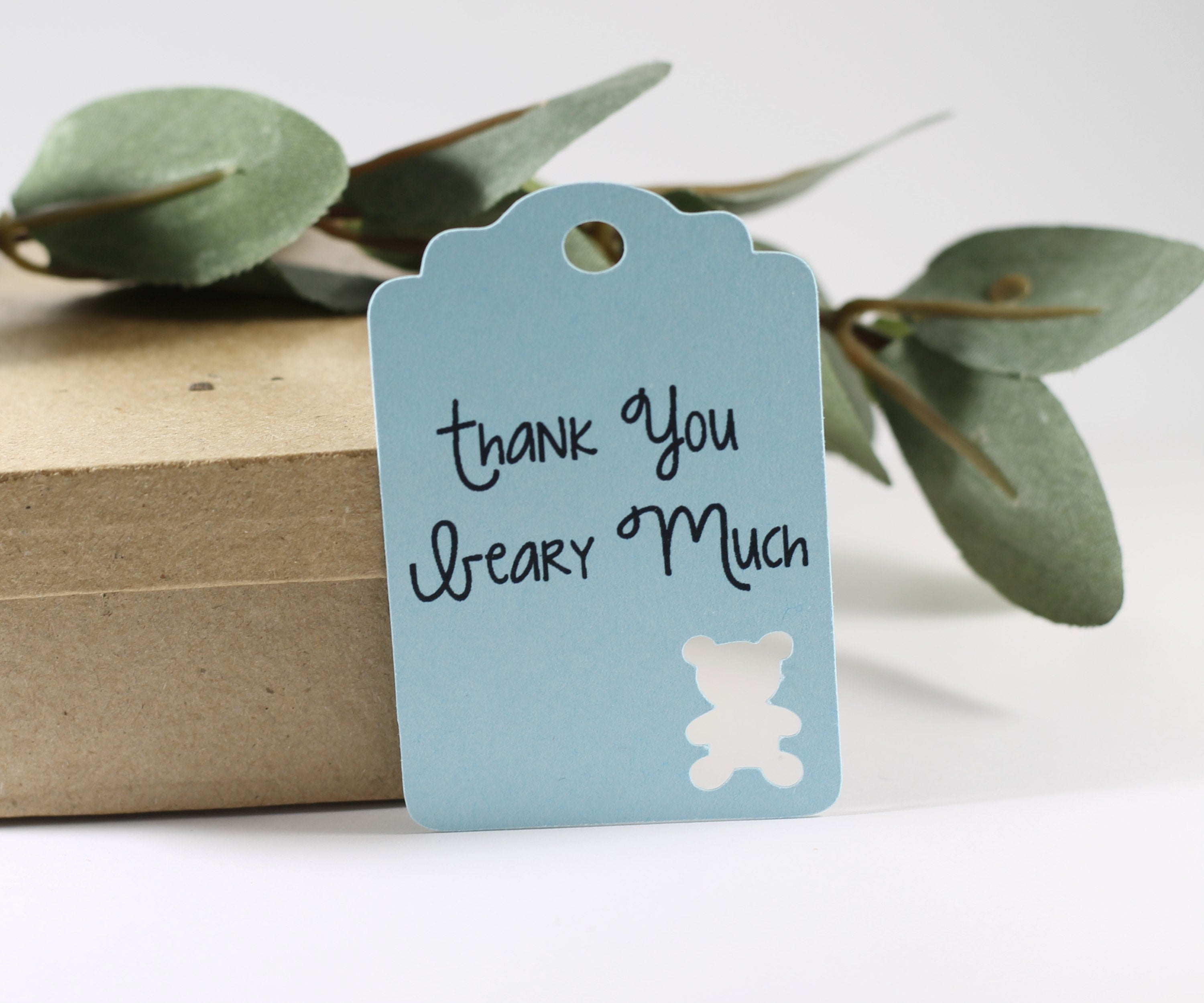 Baby Shower Tags with Bear - Thank You Beary Much - Light Blue - 20pc-Baby Shower Tags-The Paper Medley