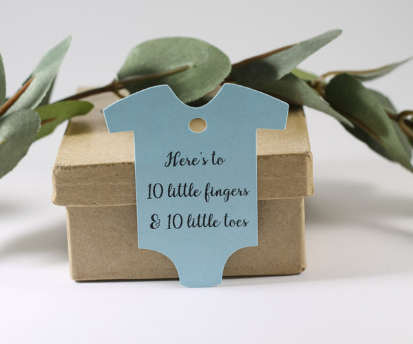 Baby Blue One Piece Tags - Here's to 10 Little Fingers and 10 Little Toes Set of 20 - The Paper Medley
