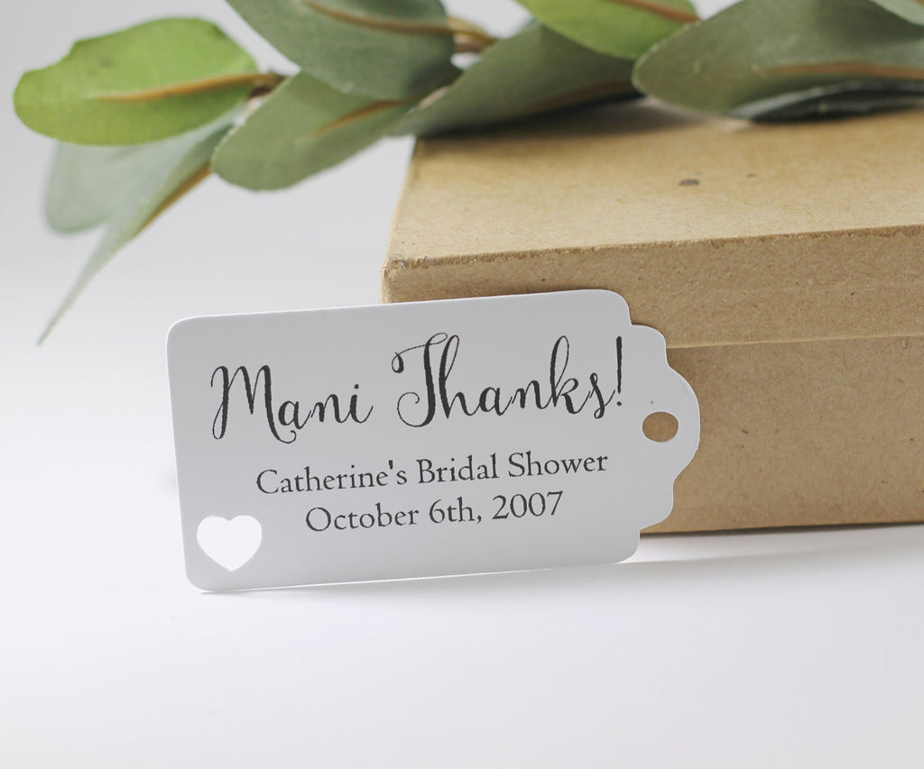Bridal Shower Favor Tags - Mani Thanks - White 20pc-Bridal Shower Tags-The Paper Medley