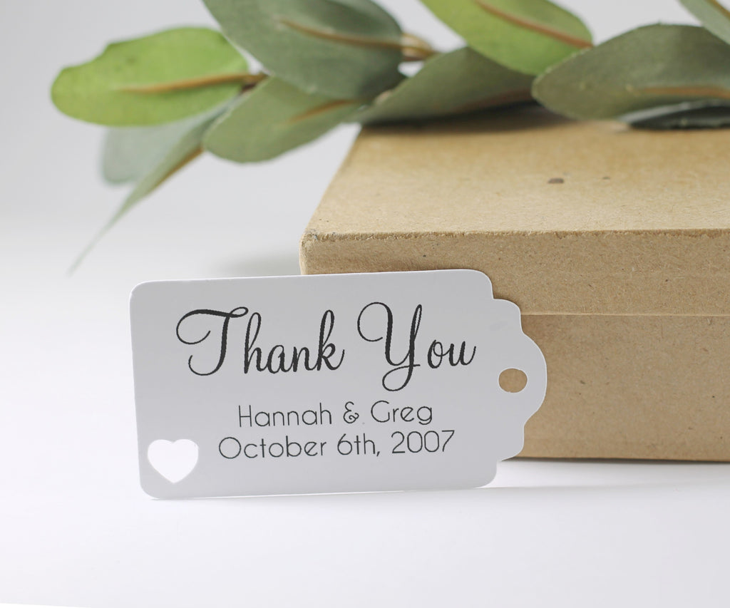 Personalized Wedding Tags - White Wedding Thank You Favors - 20pc-Wedding Tags-The Paper Medley