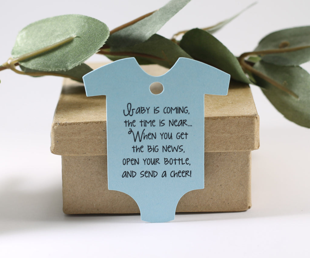 Baby Shower Tags in One Piece Shape - Baby is Coming - Light Blue - 20pc-Baby Shower Tags-The Paper Medley