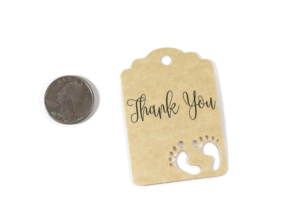 Baby Shower Tags with Feet - Thank You - Antique Gold - 20pc-Baby Shower Tags-The Paper Medley