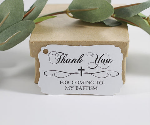 Baptism Tags in White with Thank You Set of 20 | The Paper Medley - The Paper Medley
