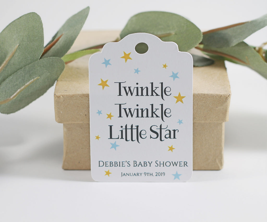 Personalized Baby Shower Tags - Twinkle Twinkle Little Star - Blue and Gold - 20pc-Baby Shower Tags-The Paper Medley