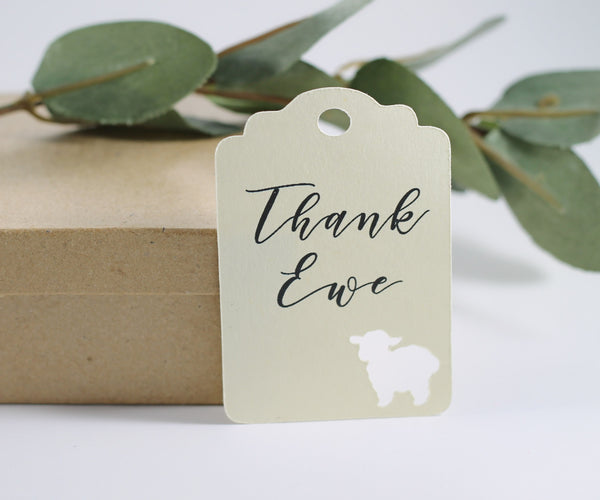 Cream Baby Shower Favor Tags with Thank Ewe Set of 20 | The Paper Medley - The Paper Medley