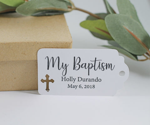 White Baptism Tags Set of 20 - My Baptism | The Paper Medley