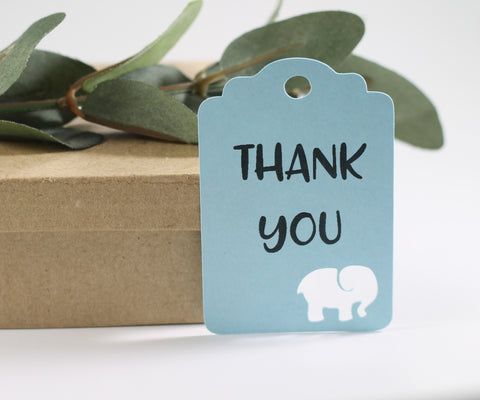 Baby Blue Elephant Shower Thank You Tags Set of 20 | The Paper Medley - The Paper Medley