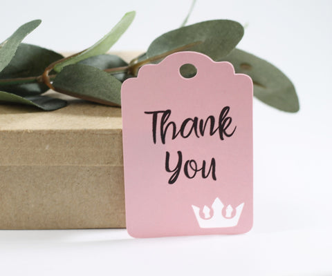 Light Pink Thank You Tags with Tiara for Girl's Party (Set of 20) | The Paper Medley - The Paper Medley