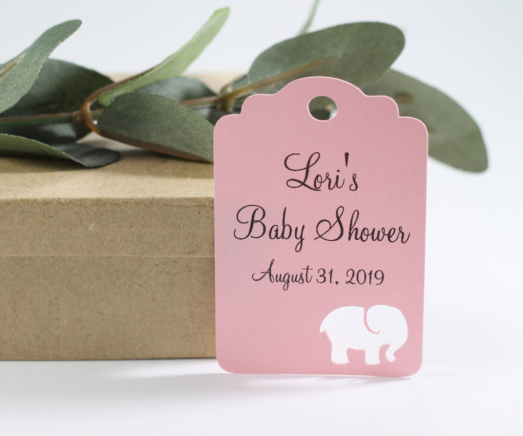 Baby Shower Tags with Elephant - Baby Pink with Elephant - 20pc-Baby Shower Tags-The Paper Medley