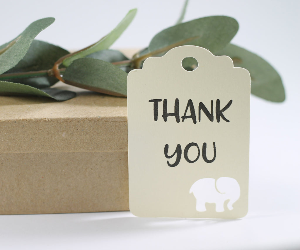 Baby Shower Tags with Elephant - Cream Elephant Tags with Thank You - 20pc-Baby Shower Tags-The Paper Medley