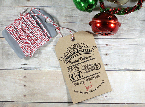 Child's Present Labels From Santa - Special Delivery in Kraft Brown 5pc - The Paper Medley