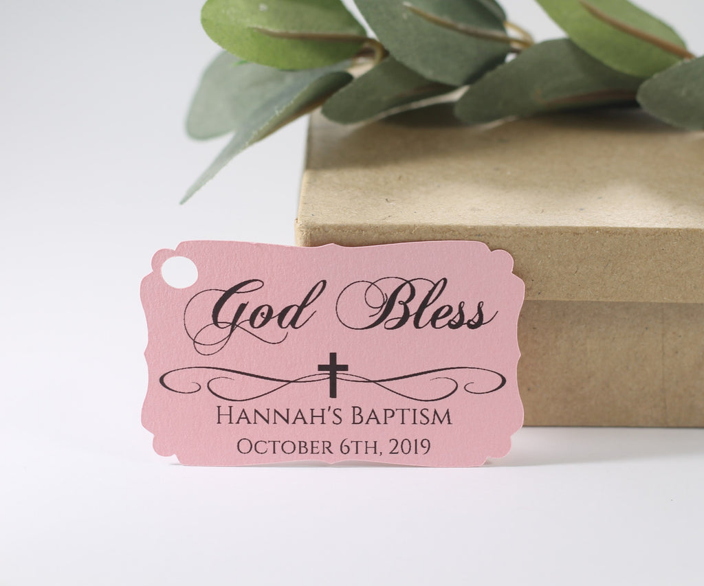 Personalized Baptism Tags - God Bless - Light Pink - 20pc-Baptism Favor Tags-The Paper Medley