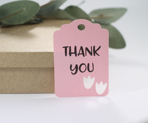 Dinosaur Party Tags for Kids Birthday with Thank You in Light Pink (Set of 20) - The Paper Medley