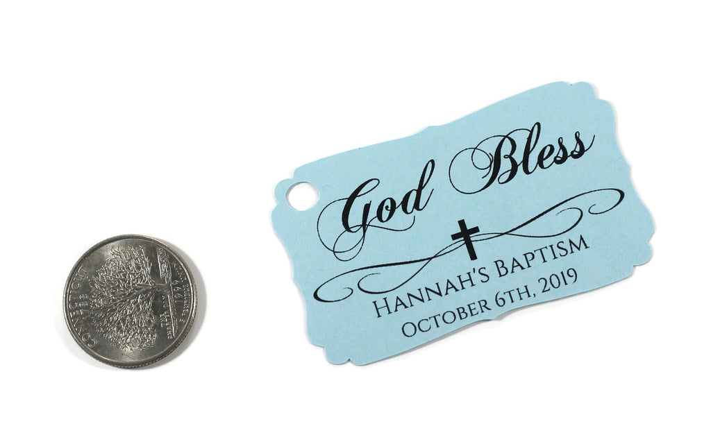 Personalized Baptism Tags - God Bless - Light Blue - 20pc-Baptism Favor Tags-The Paper Medley