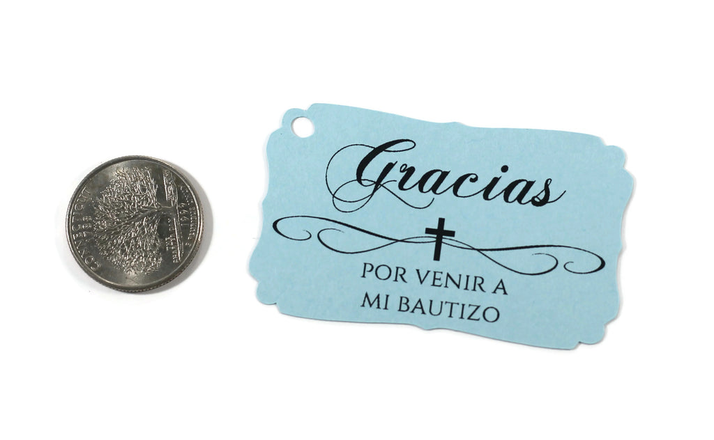 Baptism Tags - Spanish - Light Blue - 20pc-Baptism Favor Tags-The Paper Medley