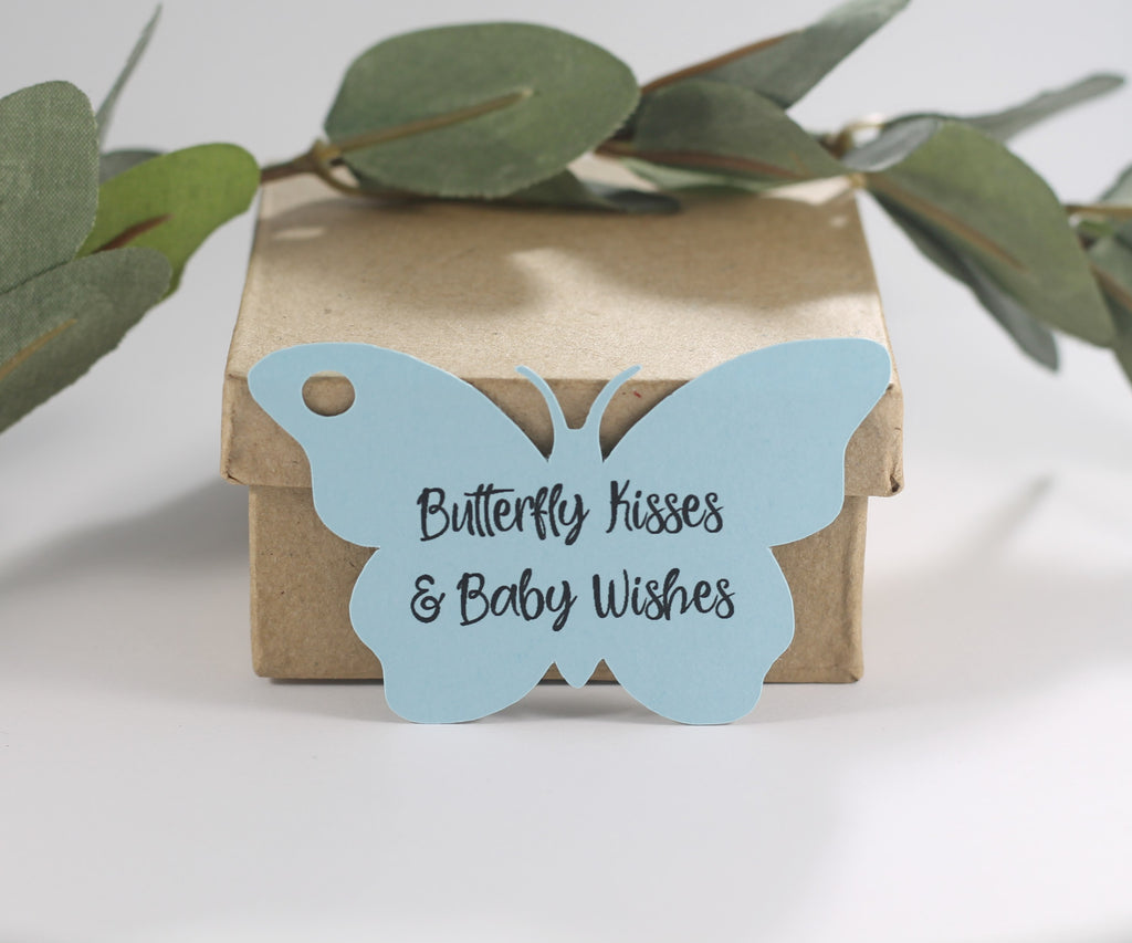 Baby Shower Tags - Butterfly Shape - Butterfly Kisses and Baby Wishes - Light Blue - 20pc-Baby Shower Tags-The Paper Medley