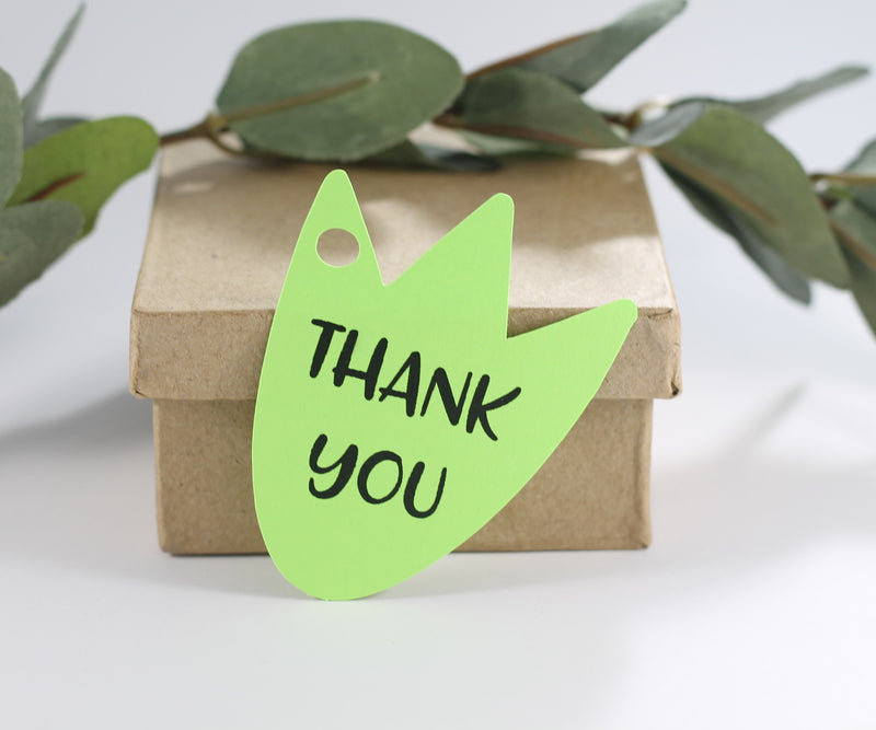 Dinosaur Thank You Tags in Lime Green Thank You for Stomping By Set of 20