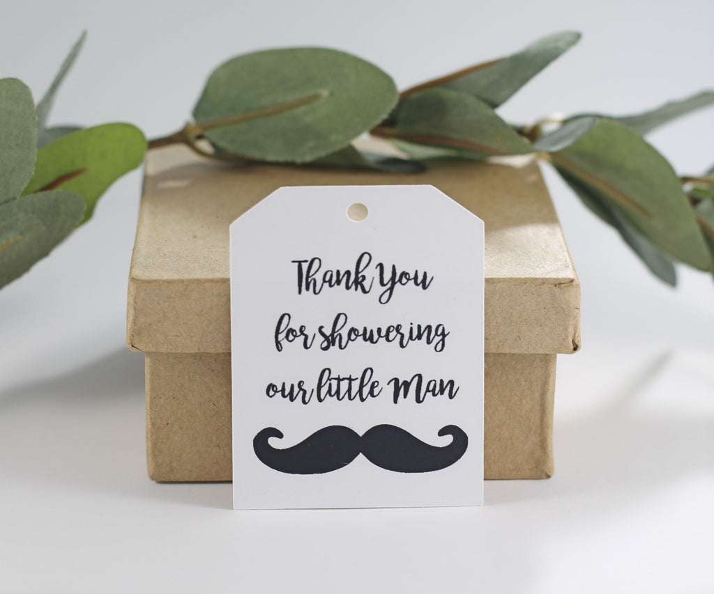 Baby Shower Tags - White Baby Boy Shower Tags - Thank You for Showering Our Little Man - 20pc-Baby Shower Tags-The Paper Medley