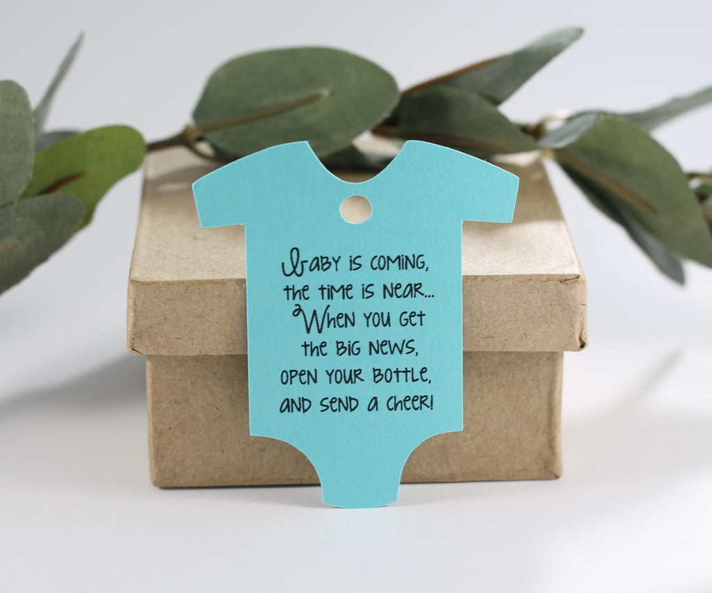 Baby Shower Tags in One Piece Shape - Baby is Coming - Aqua - 20pc-Baby Shower Tags-The Paper Medley