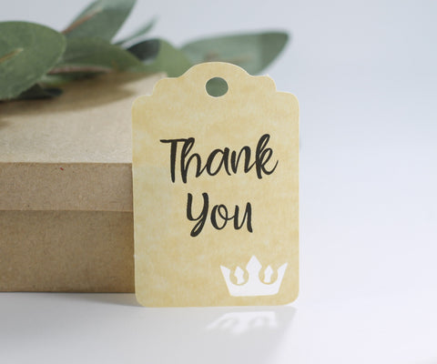 Antique Gold Thank You Tags with Tiara for Girl's Party (Set of 20) | The Paper Medley - The Paper Medley