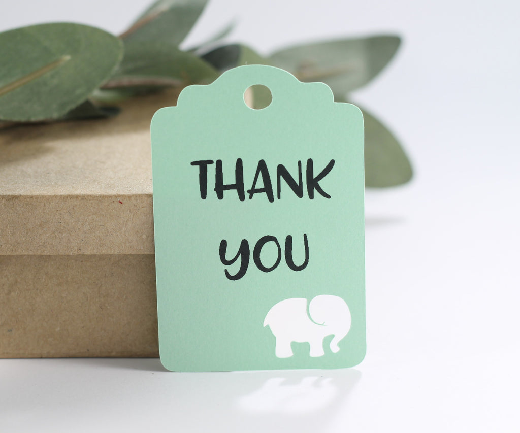Baby Shower Tags with Elephant - Thank You - Light Green - 20pc-Baby Shower Tags-The Paper Medley