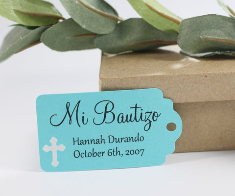 Small Aqua Baptism Tags with Mi Bautizo Set of 20 - The Paper Medley