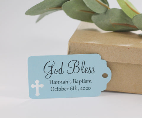 God Bless Baptism Tags in Light Blue Set of 20 | The Paper Medley - The Paper Medley