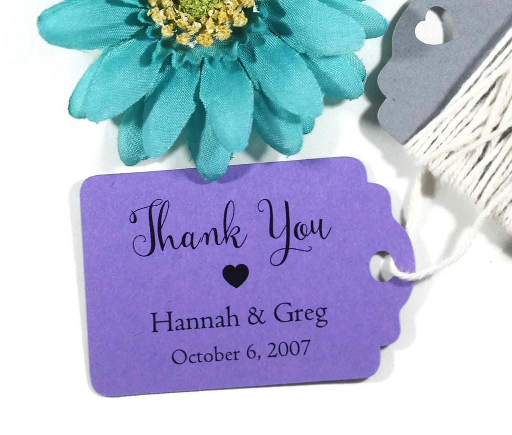 Personalized Wedding Tags - Purple Wedding Thank You Tags with Personalizedd Text - 20pc-Wedding Tags-The Paper Medley