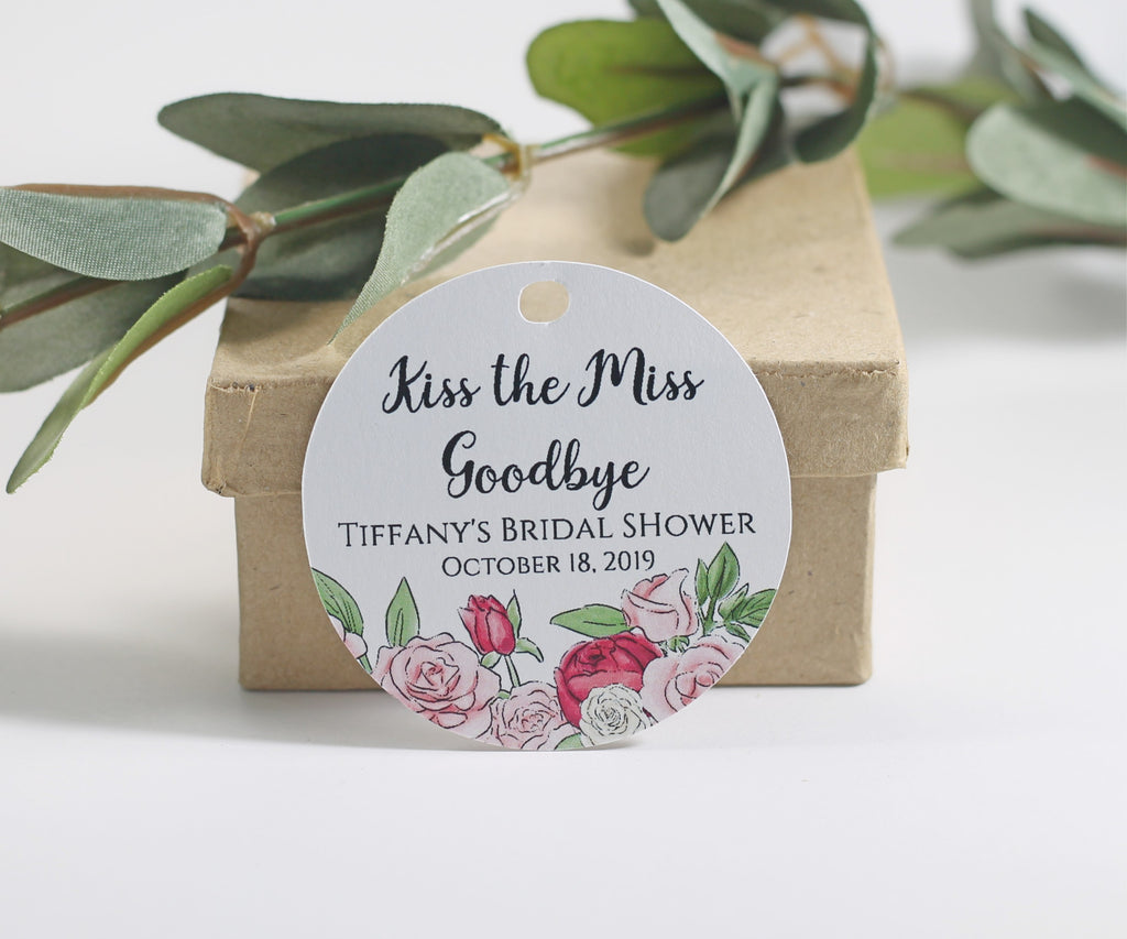 Bridal Shower Tags - Circle Shape - Kiss the Miss Goodbye - Roses - 20pc-Bridal Shower Tags-The Paper Medley