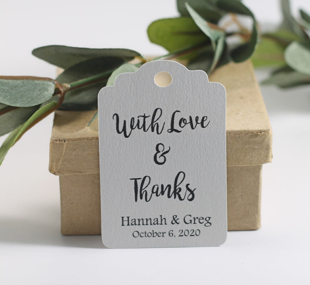 Personalized Wedding Tags - With Love and Thanks - Light Grey - 20pc-Wedding Tags-The Paper Medley