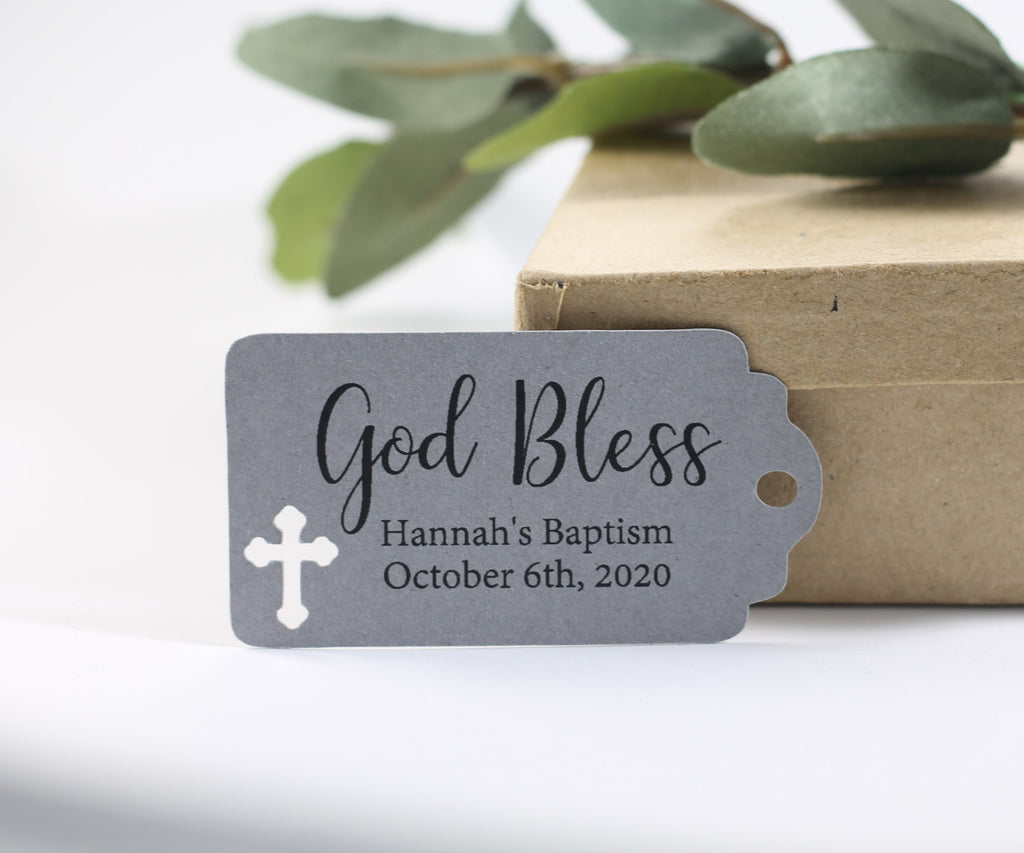 Small Baptism Tags - God Bless - Grey - 20pc-Baptism Favor Tags-The Paper Medley