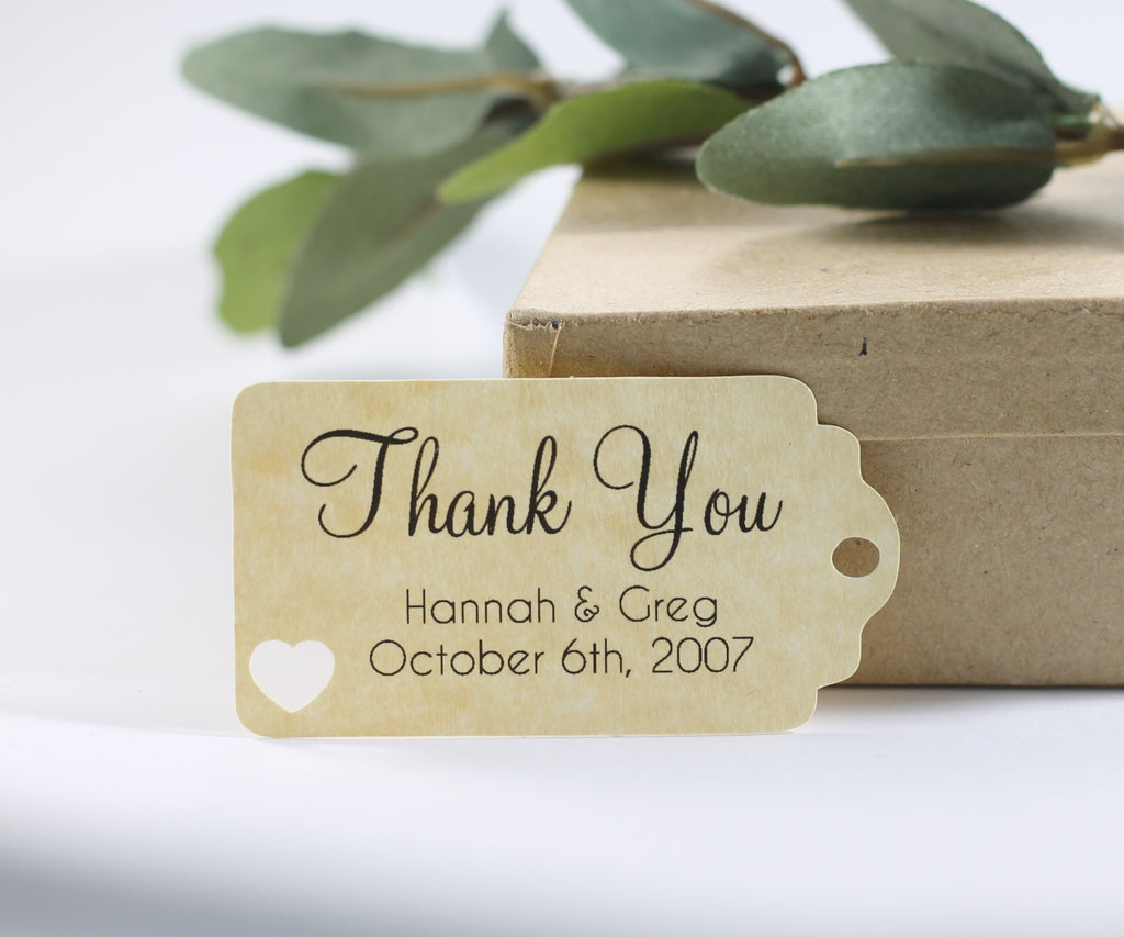 Small Personalized Wedding Tags with Heart - Thank You - Antique Gold - 20pc-Wedding Tags-The Paper Medley