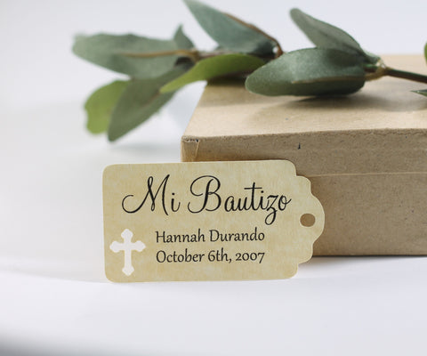 Small Antique Gold Baptism Tags - Mi Bautizo Set of 20 - The Paper Medley