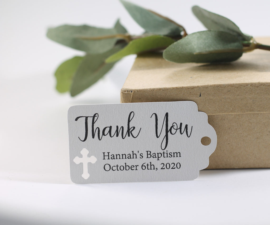 Small Baptism Tags - Thank You - Light Grey - 20pc-Baptism Favor Tags-The Paper Medley