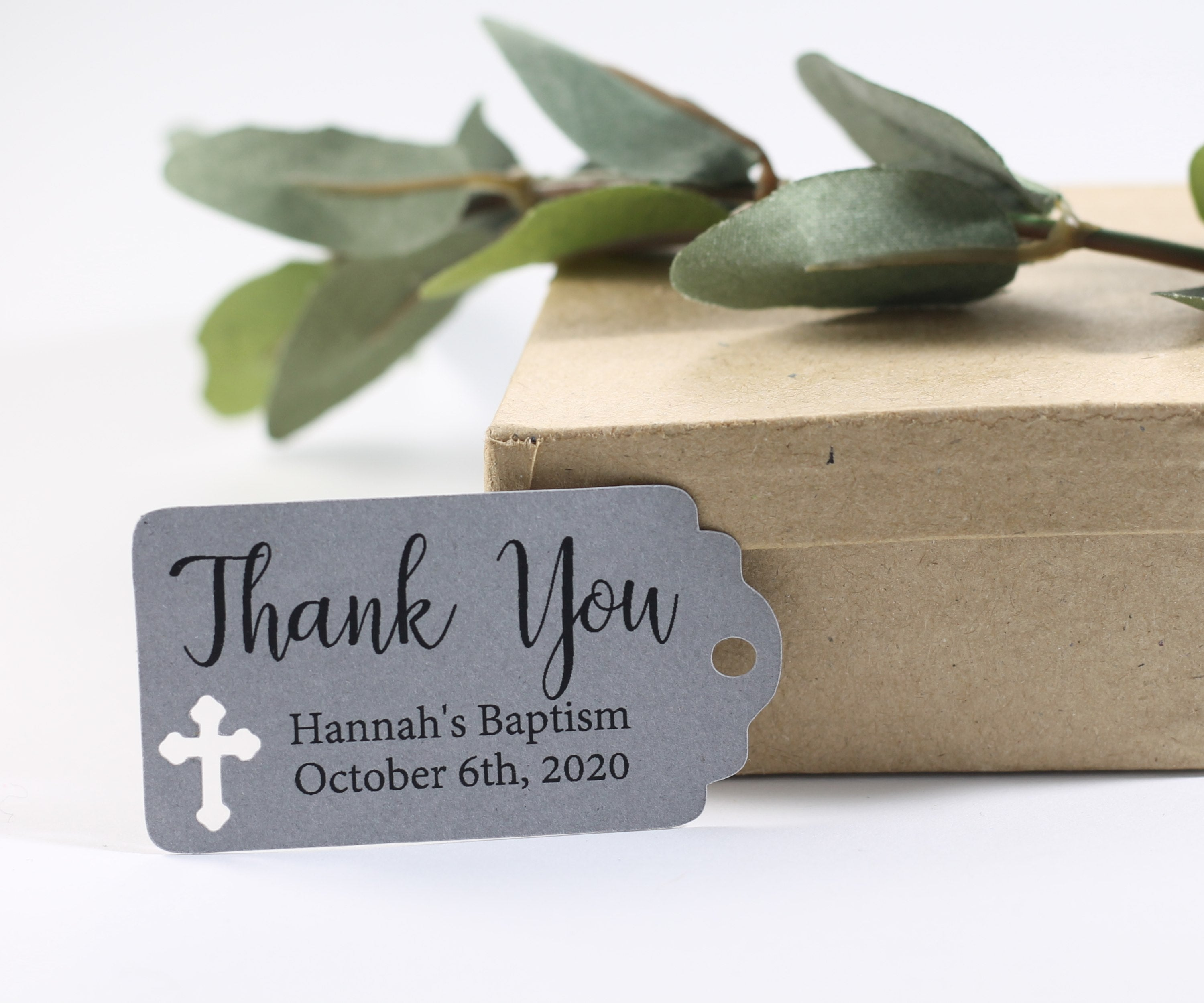 Small Baptism Tags - Thank You - Grey - 20pc-Baptism Favor Tags-The Paper Medley