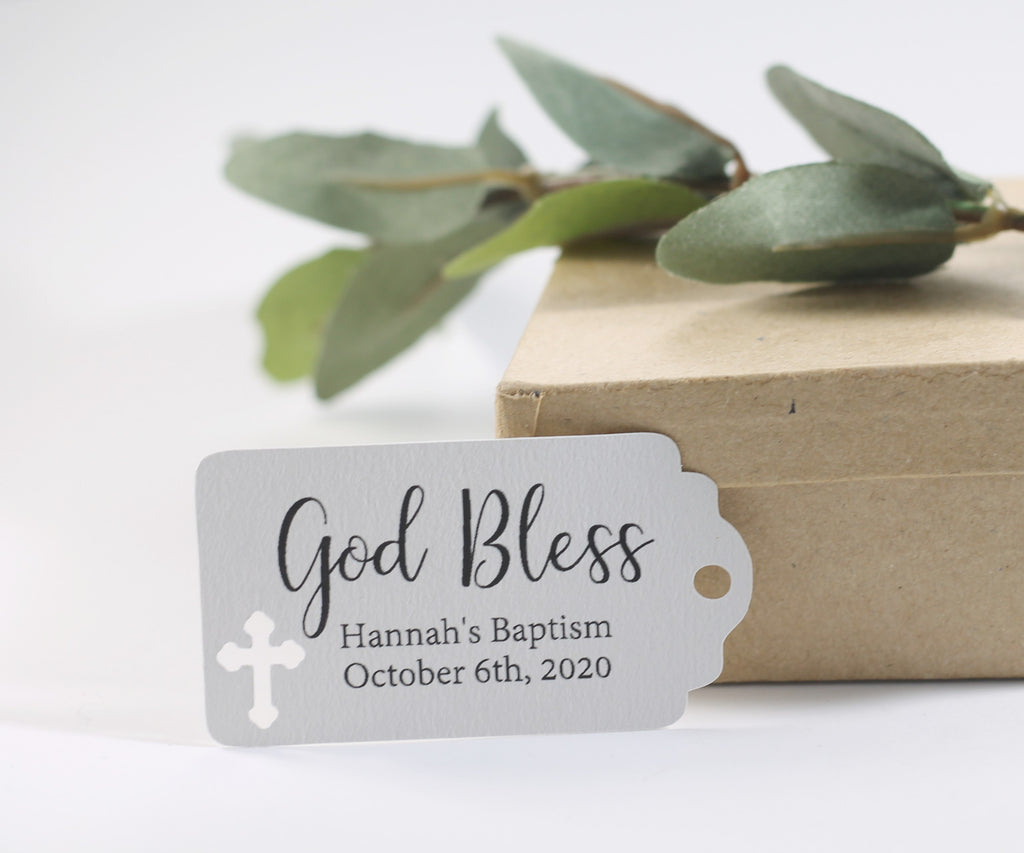 Small Baptism Tags - God Bless - Light Grey - 20pc-Baptism Favor Tags-The Paper Medley