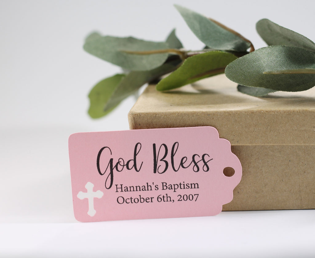 Small Baptism Tags - God Bless - Light Pink - 20pc-Baptism Favor Tags-The Paper Medley