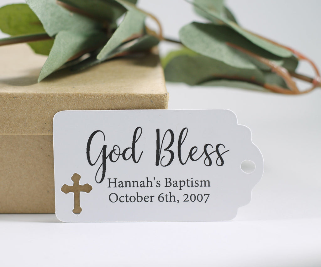 Small Baptism Tags - God Bless - White - 20pc-Baptism Favor Tags-The Paper Medley