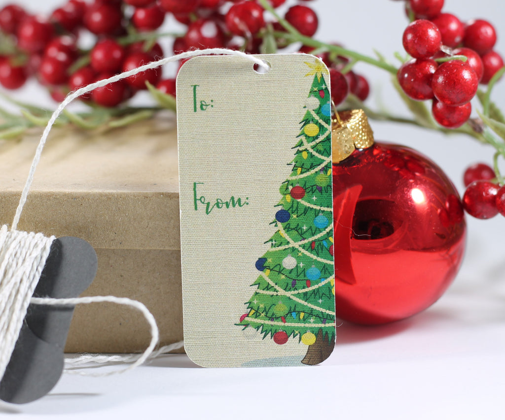 Mini Christmas Tree Labels 10pc - The Paper Medley