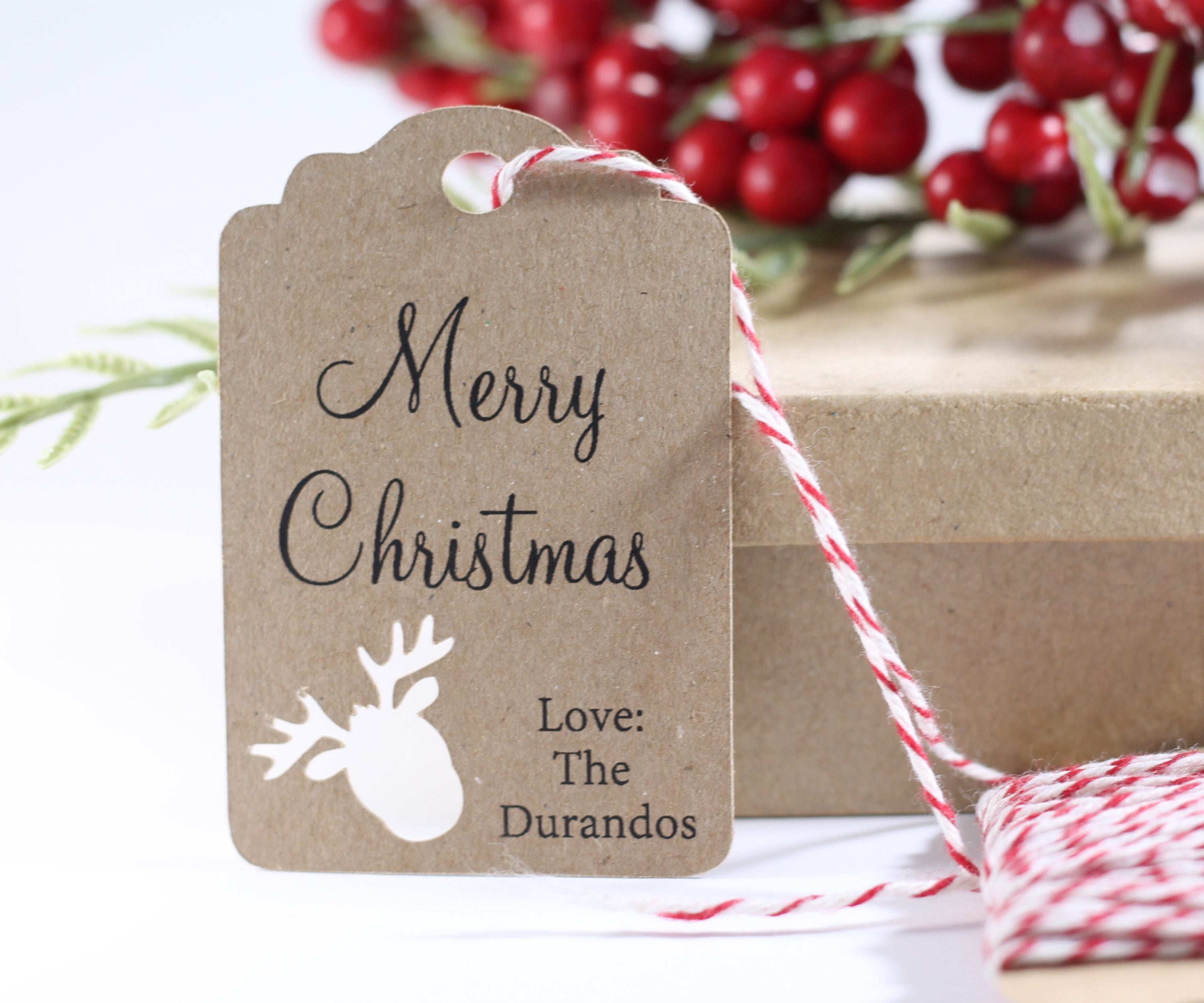 Customized Happy Holidays Gift Tags with Reindeer Cut Out in Kraft Brown 10pc-Christmas Tags-The Paper Medley