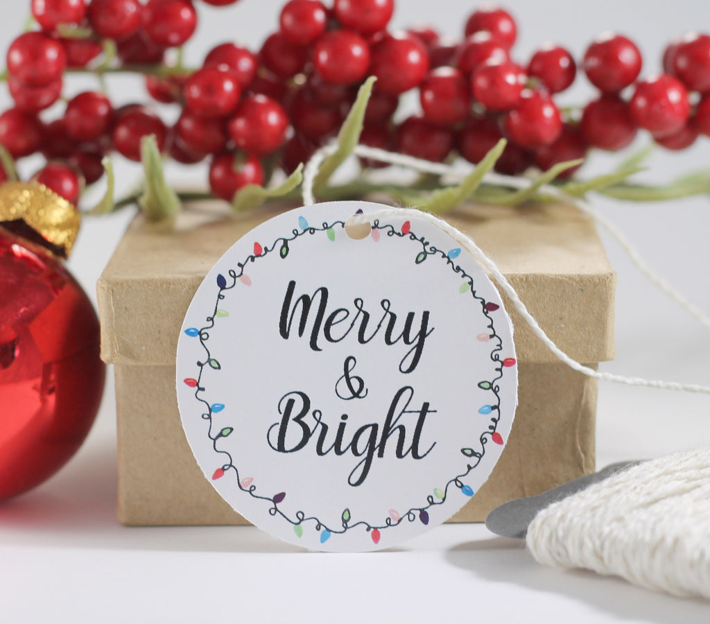 Round Merry and Bright Holiday Gift Tags 10pc-Christmas Tags-The Paper Medley