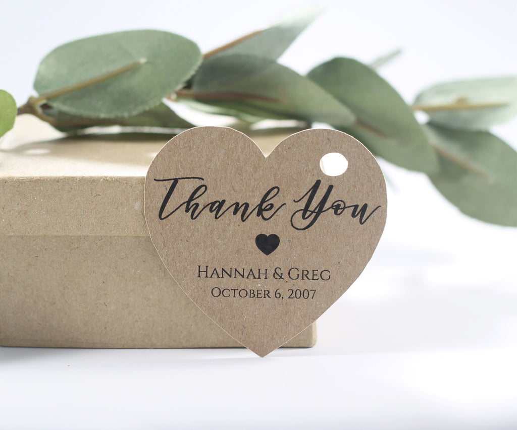 Personalized Wedding Tags - Heart Shape - Thank You - Kraft Brown - 20pc-Wedding Tags-The Paper Medley