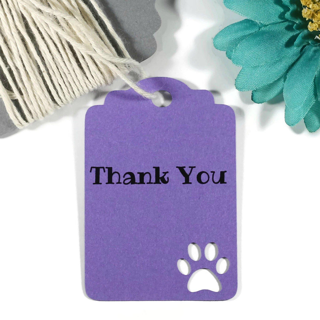 Purple Paw Print Thank You Tags Set of 20-Party Tags-The Paper Medley