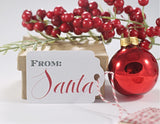 From Santa Present Labels in Red and White 10pc-The Paper Medley