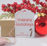 Personalized Happy Holidays Labels with Candy Cane in Red and White 10pc-Christmas Tags-The Paper Medley