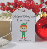 Christmas Tags - Child's Present Labels From Santa with Elf - 10 pc-Christmas Tags-The Paper Medley