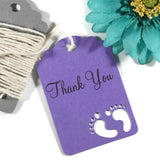 Baby Shower Tags with Feet - Thank You Tags - Purple - 20pc-Baby Shower Tags-The Paper Medley